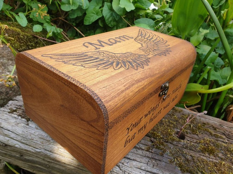 mam wooden chest with name and special words memorial box unique gift Angels wings bereavement gift can be customised mum remembrance