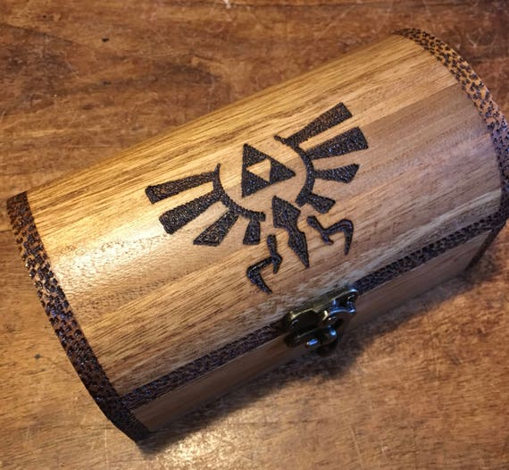 legend of zelda inspired wooden chest with drop latch with optional chest  opening sound