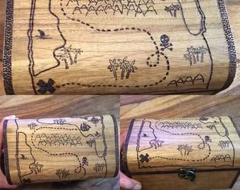 Wooden personalised chest, treasure map illustration, customisable chest or Christmas Eve Box