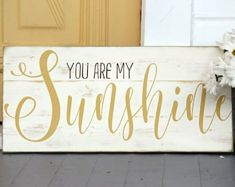 "You are my sunshine wall art, Rustic nursery decor, Rustic sign, You are my sunshine,  Rustic wall decor, Gift for her, Measures 10.5"" x 22"""
