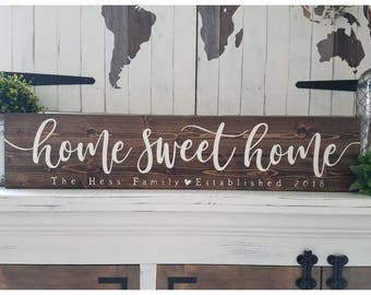 Wood Last name sign, Wood Family name sign, Custom wood sign, Home sweet home sign, Personalized Wedding gift, Established sign, Rustic sign