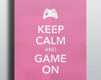 HALF PRICE - Video game poster, typographical poster, video game art - Keep Calm and Game On No.5