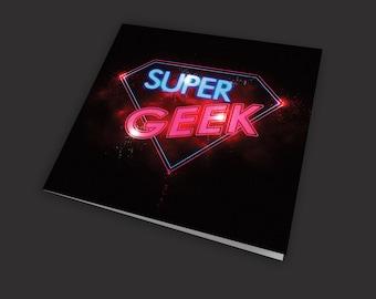 Gamer card, computer coder card, retro, pinball, super geek,