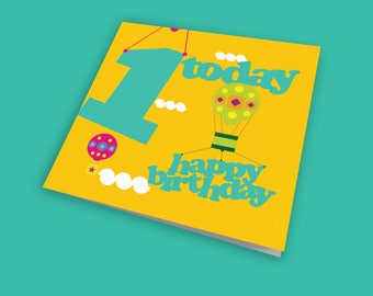 Up, Up and Away 1st Child's Birthday Card, Fun Card, Children's Birthday Card