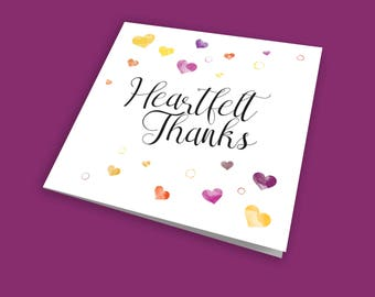 Heartfelt Thanks, Occasion Card, Thank You Card, Announcement Card, General Card, with subtle glitter finish