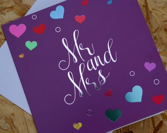 Mr and Mrs, Wedding Card, Anniversary Card, Congratulations Card, Announcement Card, with subtle foil finish