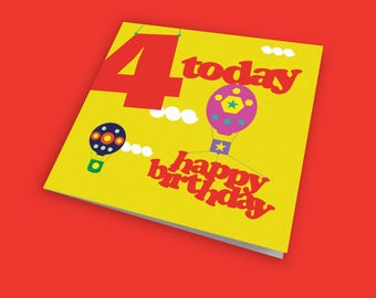 Up, Up and Away 4th Child's Birthday Card, Fun Card, Children's Birthday Card