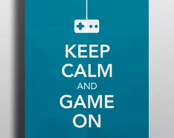 HALF PRICE - Video game poster, typographical poster, video game art - Keep Calm and Game On No.2