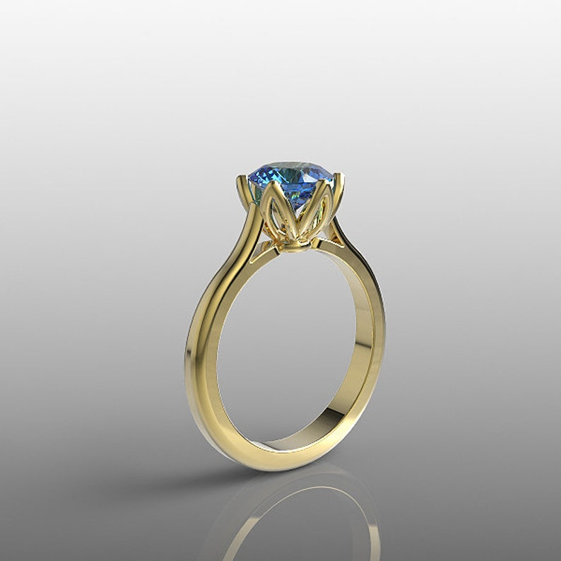14k yellow gold engagement ring 7mm round Blue Topaz ring  23a52def92d5
