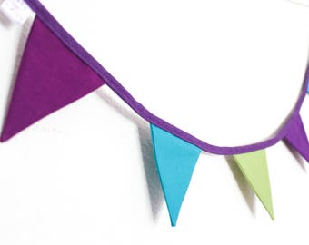 Mini Peacock Bunting, purple & teal garland, wedding fabric flags, Christmas tree garland, gift for mum, campervan decor, fireplace hanging