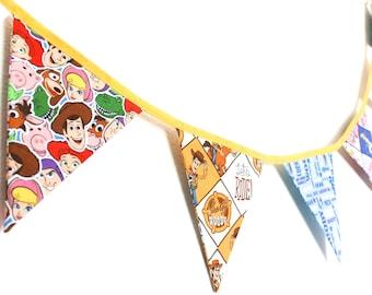 Toy Story bunting, Woody fabric flags, Buzz Lightyear garland, kids movie bedroom decor, Disney Pixar Christmas gift, son daughter birthday