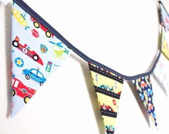 Vehicle themed bunting, racing cars trucks fabric flags, fire engine banner, garland, toddler gift, boy's bedroom decor, birthday present
