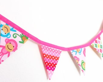Cheeky pink monkey bunting, girls cute floral fabric flags, birthday gift banner, bright cute bedroom garland for wardrobe window dresser