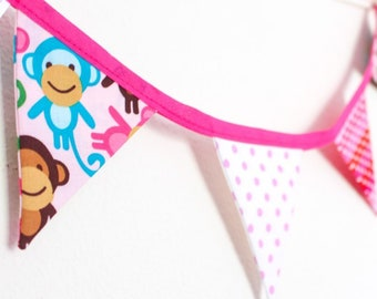 Pink monkey bunting, bright girls bedroom garland, polka dot spotty fabric flags, small wall hanging, gift for girls, window, wardrobe,