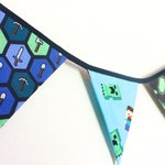 Minecraft themed bunting, gaming room fabric flags, Xbox console banner, boys bedroom decor, teen block geek gift, birthday christmas party