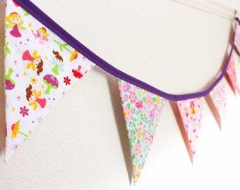 Flower fairy garden bunting, magical princess fantasy fabric flags, girls bedroom garland, birthday party banner, toddler nursery gift