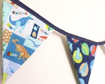 Dinosaur fabric flags bunting kids bedroom decor banner Christmas gift, boys play house birthday party banner present, jurassic park dino