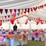 Exotic bright bunting in pink, orange, purple, red, wedding decor,  party garland, festival fabric flags,