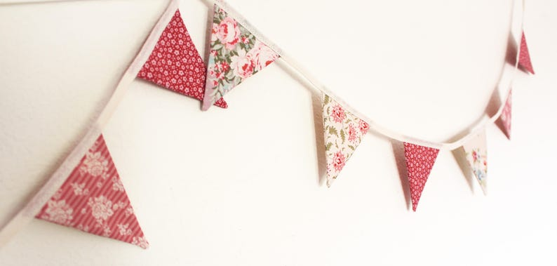 floral gift for her Dusky pink mini Bunting vintage style Christmas Tree decoration new home fireplace festive garland summerhouse