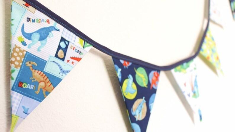Dinosaur fabric flags bunting kids bedroom decor banner image 0