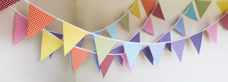 HIRE rainbow gingham bunting bright fabric flags wedding image 0