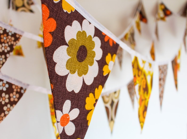 Flower Power bunting  vintage fabric flags  hippy style image 0