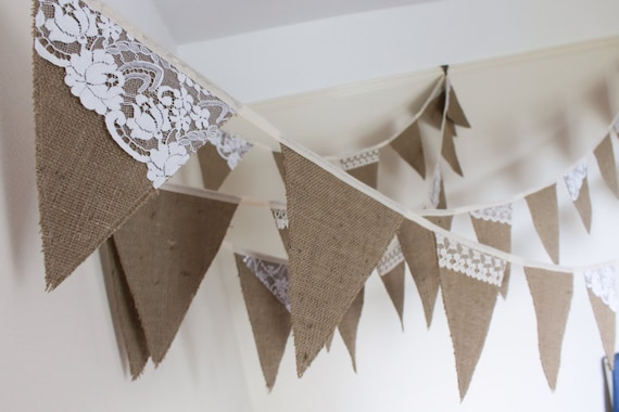 Hessian lace bunting to hire rustic wedding decoration etsy junglespirit Gallery