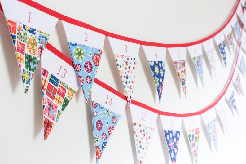 Advent calendar bunting Christmas countdown garland pocketed image 0
