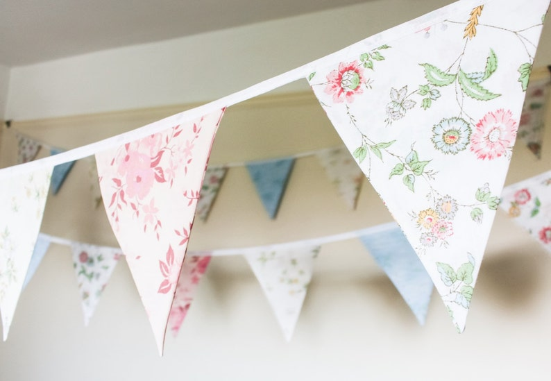 Vintage floral bunting  shabby chic fabric flags  floral image 0