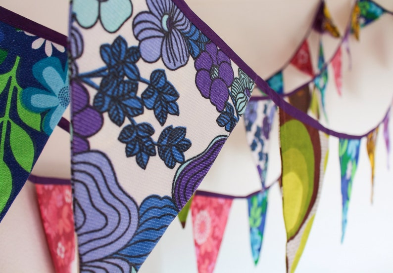 Funky retro bunting for hire vintage colourful fabric image 0