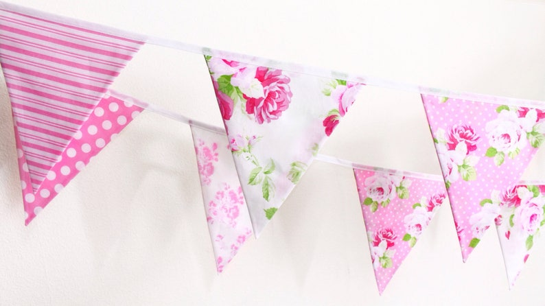 Pink bunting candy pink fabric flags floral wedding decor image 0