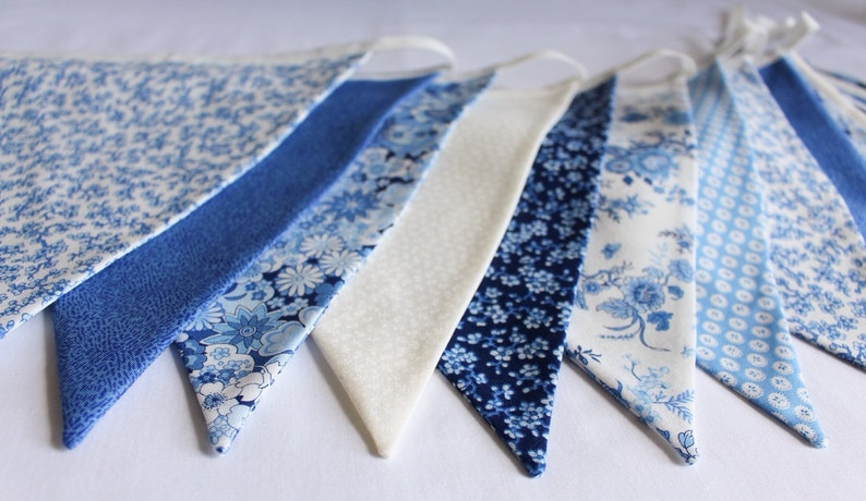 Floral blue bunting for hire  white and cream fabric flags image 0