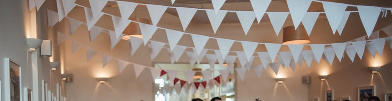 White Bunting to hire  Rustic wedding decoration  Vintage image 0