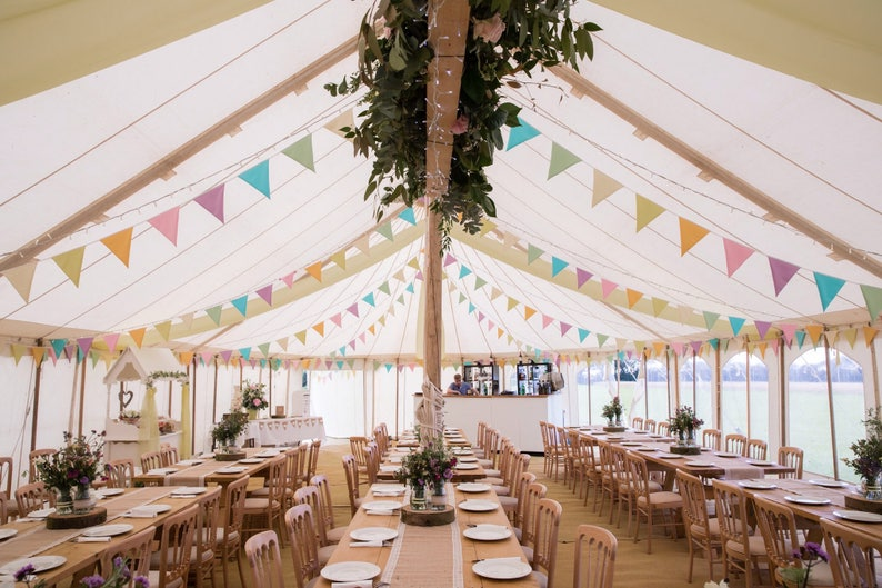 HIRE  pastel colours bunting  pale fabric flags  multi image 0