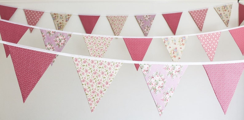 HIRE Dusky pink bunting  vintage rose fabric flags  floral image 0