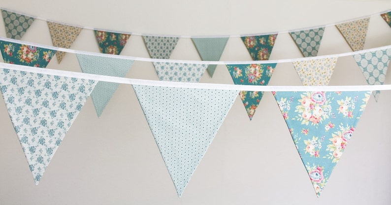 Teal wedding bunting  vintage style fabric flags  green & image 0