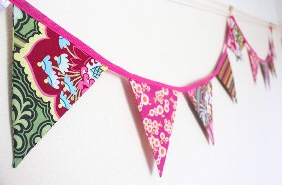 PERSONALISED Handmade BUNTING Baby GIRL Floral dark pink letters £1.80 Per Flag
