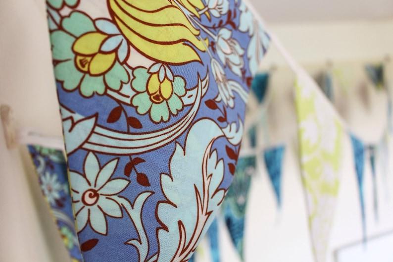Blue & green bunting  aqua floral fabric flags  surf wedding image 0