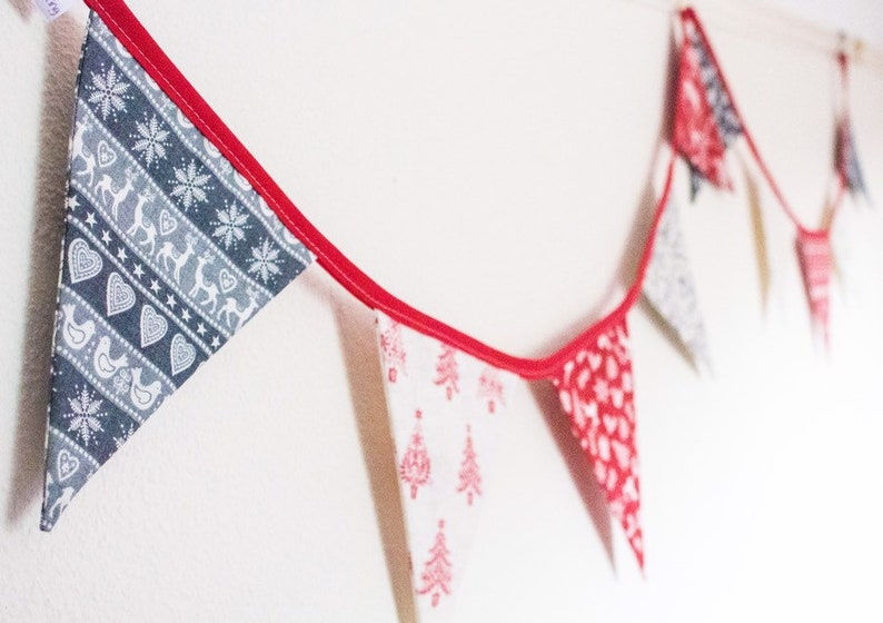 Scandinavian Christmas Bunting in traditional Nordic red and image 0