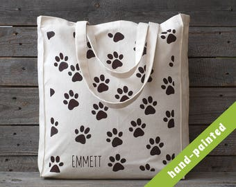 dog lover gift personalized - dog tote bag/ dog mom/ personalized gift for friend/ Dog Paws/ Dog Canvas Tote Bag/ Eco Bag