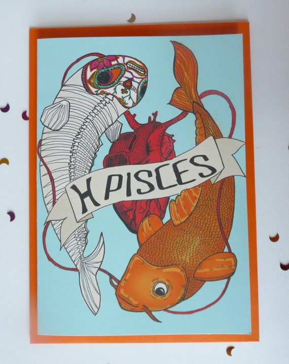 Birthday Card PISCES Zodiac Sign Original Illustration KOI
