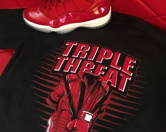422ee69f2ef Jordan 11 Win Like 96 Gym Red Three Kings Shirt