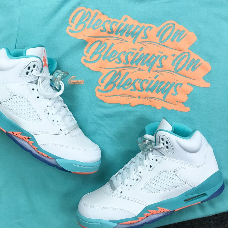 new concept 2e3e3 248ca Jordan 5 Light Aqua Crimson Blessings Shirt