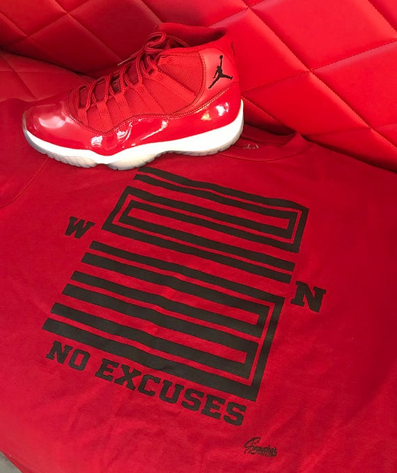 premium selection 1e3bc 0c118 Jordan 11 Win Like 96 Gym Red WIN Shirt