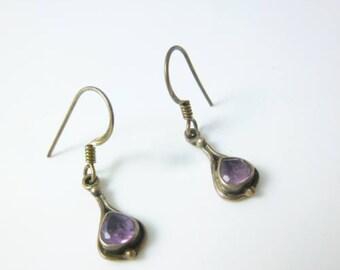 Amethyst Earrings, Sterling Silver Hook Earrings, Purple Earrings, Dainty Earrings, Dangle Earrings, Oxidized Earrings
