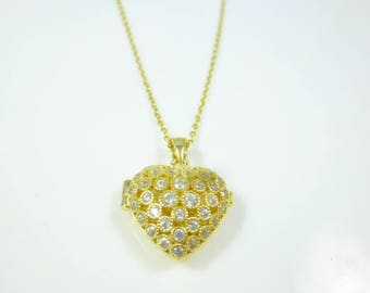 Sterling Silver Locket, Gold Heart Locket Necklace, Heart Locket Pendant, Locket Necklace, Gold Heart