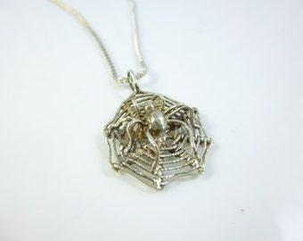 Spider Web Necklace, Sterling Silver Spider Charm Necklace, Halloween Necklace, Vintage