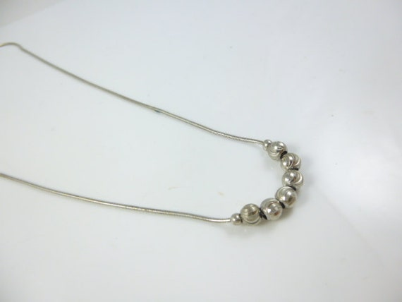 Sterling Silver Bead Necklace, snake Chain, Silve… - image 4