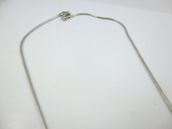 Sterling Silver Bead Necklace, snake Chain, Silve… - image 3