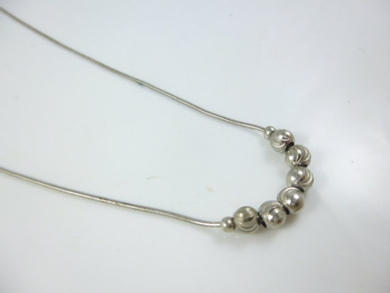 Sterling Silver Bead Necklace, snake Chain, Silve… - image 2